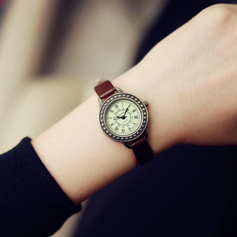 Ladies Designer Vintage Leather Women Bracelet Watches Brown Retro Roma Quartz Woman Clock Fashion Small Female Wristwatches