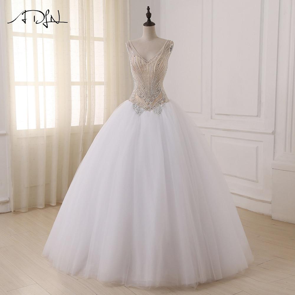 ADLN Wedding Dresses V neck Sleeveless Sparkling Beading Sequins Floor Length Ball Gown Wedding Dress New Arrival