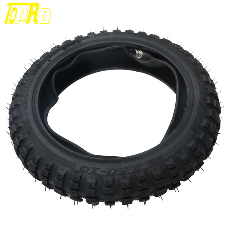 Motorcycle 2.5-10 <font><b>Tire</b></font> Tyre and Tube 2.50 x 10 for DIRT BIKE MX OFF ROAD XQ02 image