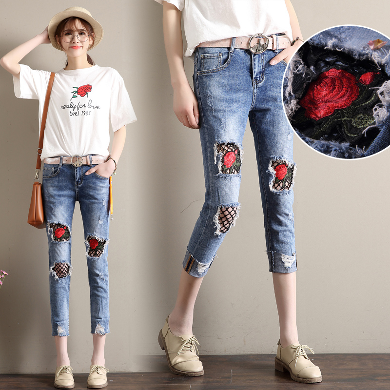 New Women Jeans Skinny Ripped Denim Pants Flower Enbroidery Mid Waist Vintage Pencil Pants Bleached Casual Blue Hole Jeans Woman