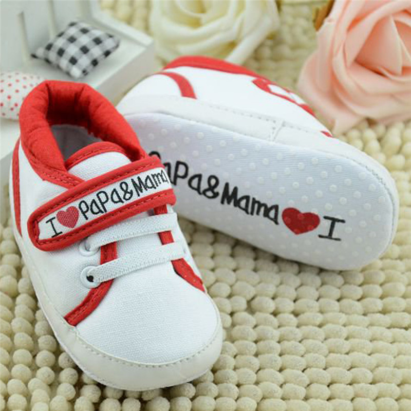 Baby Shoes Sneakers Lovely I Love Mum and Dad Printed Infant Soft Sole First Walkers Shoes Toddlers Anti Slip Footwear Prewalker