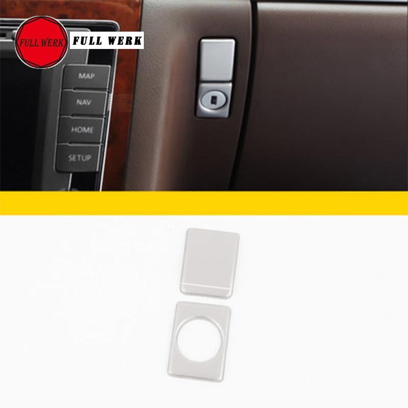 Set Of 2pcs Car Copilot Storage Box Decoration Sticker Glove Box Switch Cover Trim For VW Phaeton Interior Moulding Accessories