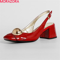 MORAZORA New Arrive Hot Sale Heels Shoes Buckle Summer Sandals Women Shoes Genuine Leather Fashion Party