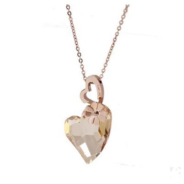 2017classic heart pendant necklace made with Crystals from Austria thin box chain  women brand gift