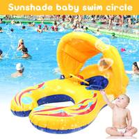 Inflatable Baby Swimming Neck Ring Mother and Child Swimming Circle Double Swimming Rings Float Seat Piscine with Sunshade
