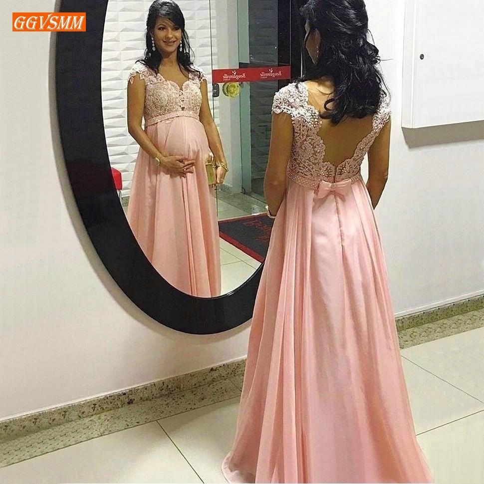 elegante schwangere frauen rosa prom kleider lange spitze appliqued  v-ausschnitt prom kleider chiffon-eine linie gravidity abend formale kleid  neue