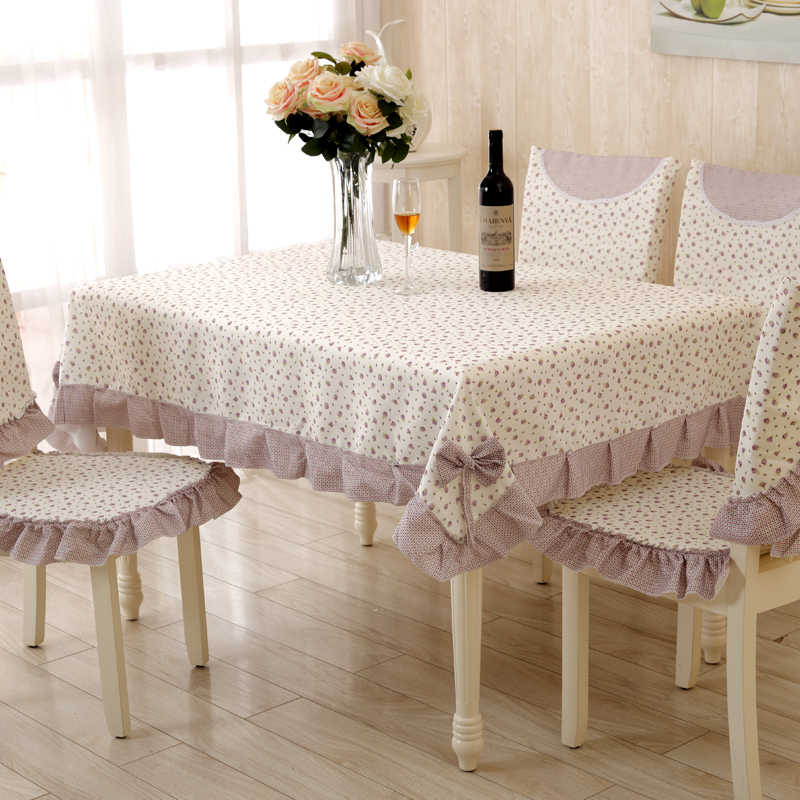 Europe Polyester Tablecloth Chair Sets Embroidered Floral Hollow
