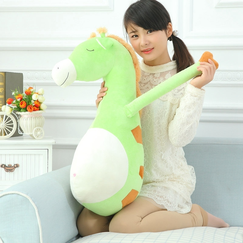 80 Cm Large Size Adorable Cartoon Plush Giraffe Stuffed Animal Toy Cushion Nice Stitches Pillow Toy Gift For Children