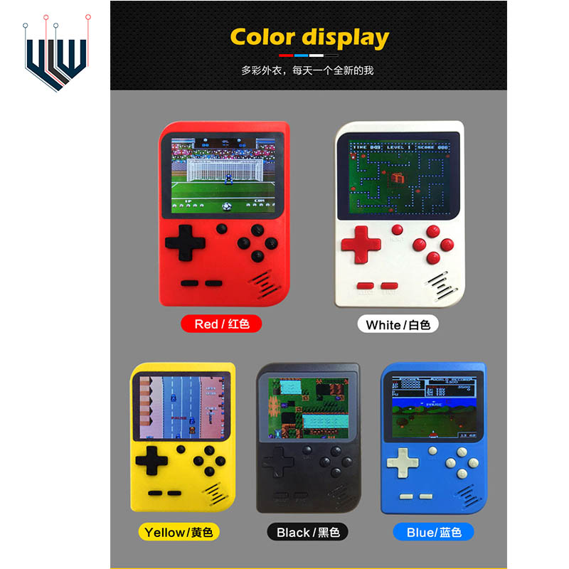 YLW  Retro Portable Mini Handheld Game Console 8-Bit 2.8 Inch Color LCD Kids Color Game Player Built-in 400 games