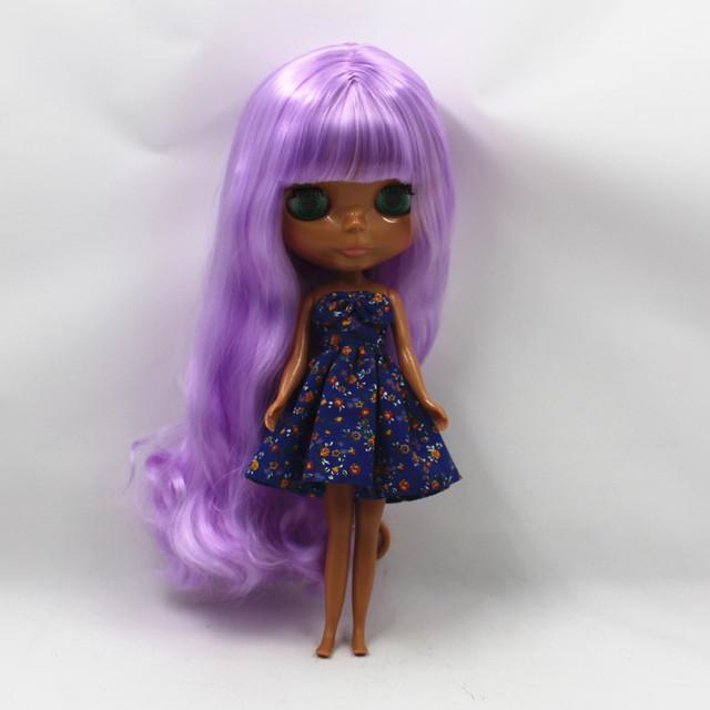 ICY Neo Blythe Doll Purple Hair Dark Skin Regular Body