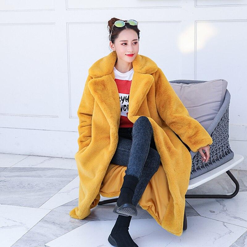 2018 automne et d'hiver nouvelle longue lâche manteau de fourrure chaud épais de mode tempérament Faux Fourrure veste Mince dame