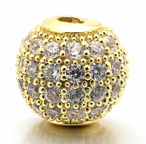 6 мм/8 мм/10 мм лучшее качество латунные кубические циркониевые круглые разделительные бусины для ювелирных изделий DIY, смешанные цвета, Модель: VZ4/5/6 - Цвет: Gold
