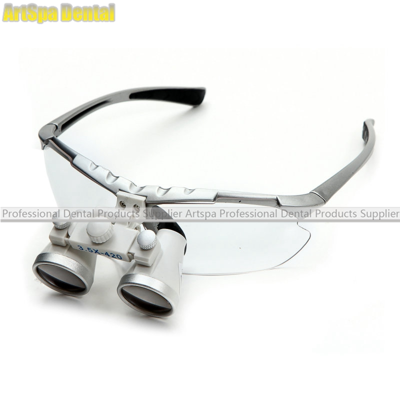 Dental Surgical Loupe Magnifier, Binocular Magnifier with LED Head Light Lamp Dental Loupes 3 5x420mm dental surgical loupe magnifier portable medical binocular glasses oral camera head light lamp teeth whitening