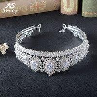 Snuoy magnífico Crystal rhinestone nupcial tiaras coronas espumoso plateado cristal boda Accesorios de pelo joyería coronas