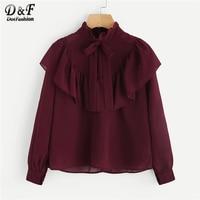 f43fd23fd2fcfc Dotfashion Burgundy Self Tie Neck Frill Trim Vintage Blouse Shirt Women  2019 Elegant Autumn Ladies Tops