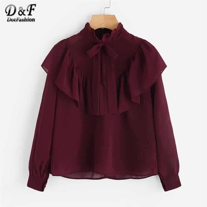 Dotfashion Burgundy Self Tie Neck Frill Trim Vintage Blouse Shirt Women 2019 Elegant Autumn Ladies Tops Long Sleeve Plain Shirts