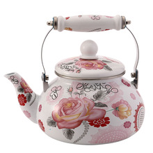 2.5 L Chinese Traditional Enamel Water Pot with Ceramic Handle Coffee Tea for Home Kitchen