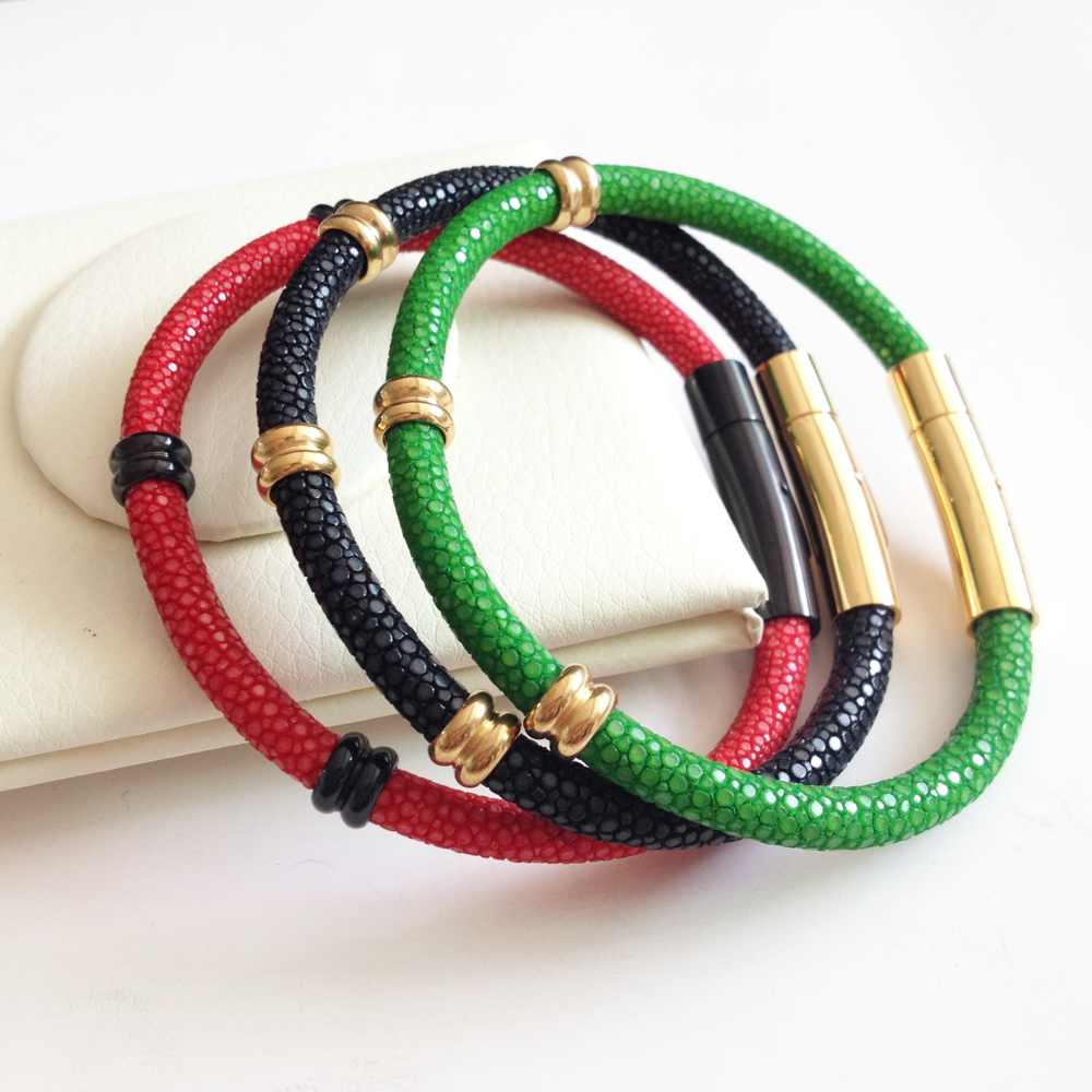 Charm bracelets Stainless steel Men Genuine Stingray Bracelet fit Brand Watch Men's Jewelry Gift Red Genuine Leather Bracelets nidin 2017 men jewelry brown genuine leather bracelets