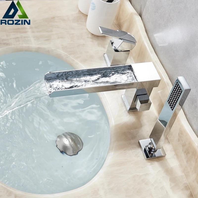 Long Spout Waterfall Bathtub Faucet Widespread Chrome Tub Mixer Faucet Deck Mounted 3 Holes Waterfall Bath Shower Set Handshower Bathtub Faucets Aliexpress