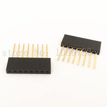 100pcs Black 2.54 mm 8P Stackable Long Legs Female Header For Arduino Shield