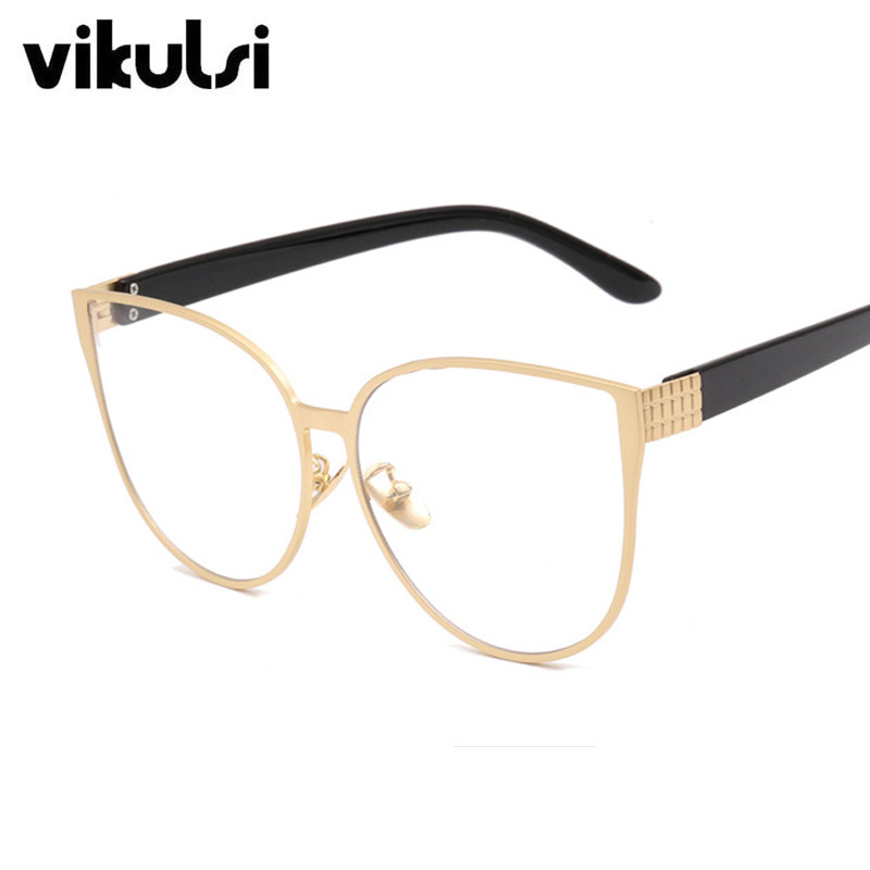 2017 New Luxury Cat Eye Clear Eyeglasses Gold Glasses Optics Frame Brand Design Clear Vi ...