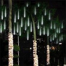 방수 3 색 EU 플러그 화환 8 튜브 LED 유성우 비가 문자열 빛 50cm 30cm 고드름 강설량 크리스마스 장식