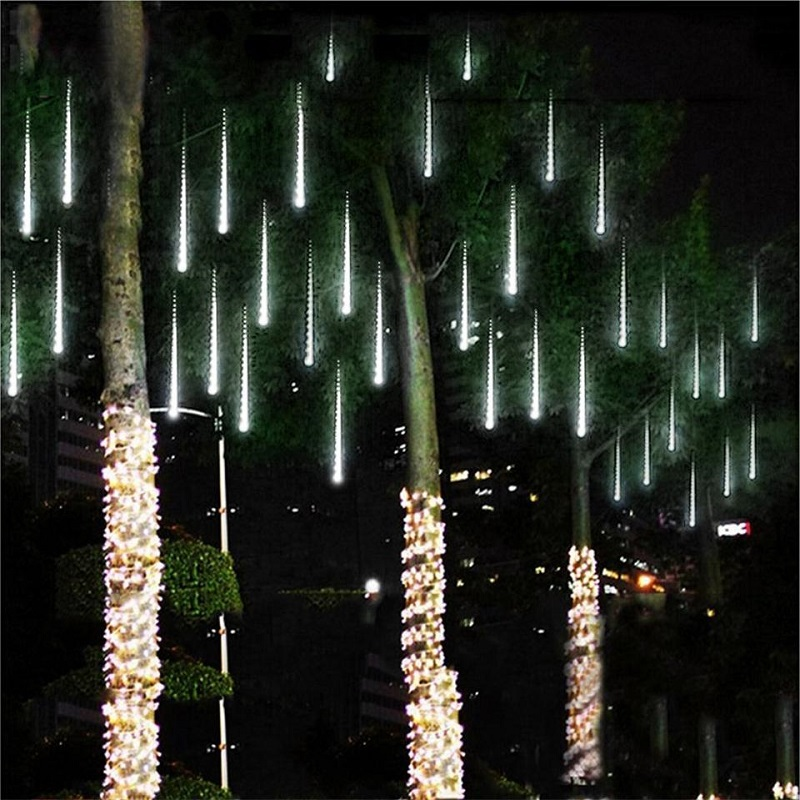 Waterproof 3 Colors EU Plug Garland 8 Tubes LED Meteor Shower Rain String Light 50cm 30cm Icicle Snowfall Xmas Decoration