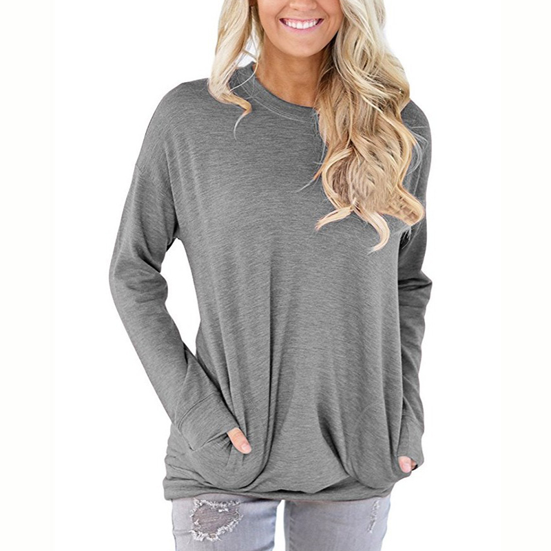 MOBTRS Bat Long Sleeve T Shirt Woman Pocket Decoration Grey T Shirt Women Simple Female T Shirt