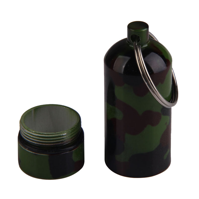 Camo Self Defense Aluminum Alloy Outdoor Save First Aid Drug Medicine Kit Small Gallipot Cartridge Key Chain FC
