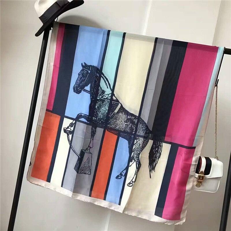Summer Women Silk Scarf Luxury Brand Quality Fashion Color Horse Print Soft Silk Scarves Beach Cover-ups Wraps Shawls 180 X 90CM