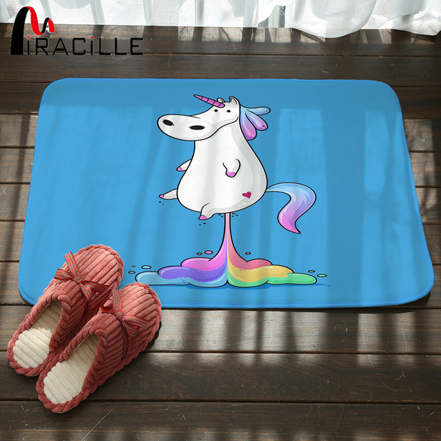 Miracille Kentut Lucu Pelangi Lemak Masuk Keset Flanel Unicorn Lantai Tikar Kartun Dapur Kamar Tidur Tikar