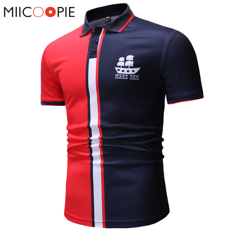 Summer Men's Short Sleeve Polo Shirt High Quality Men Sailboat Printed Polo Shirt Splicing Color Camisa Polos Masculina XXXL
