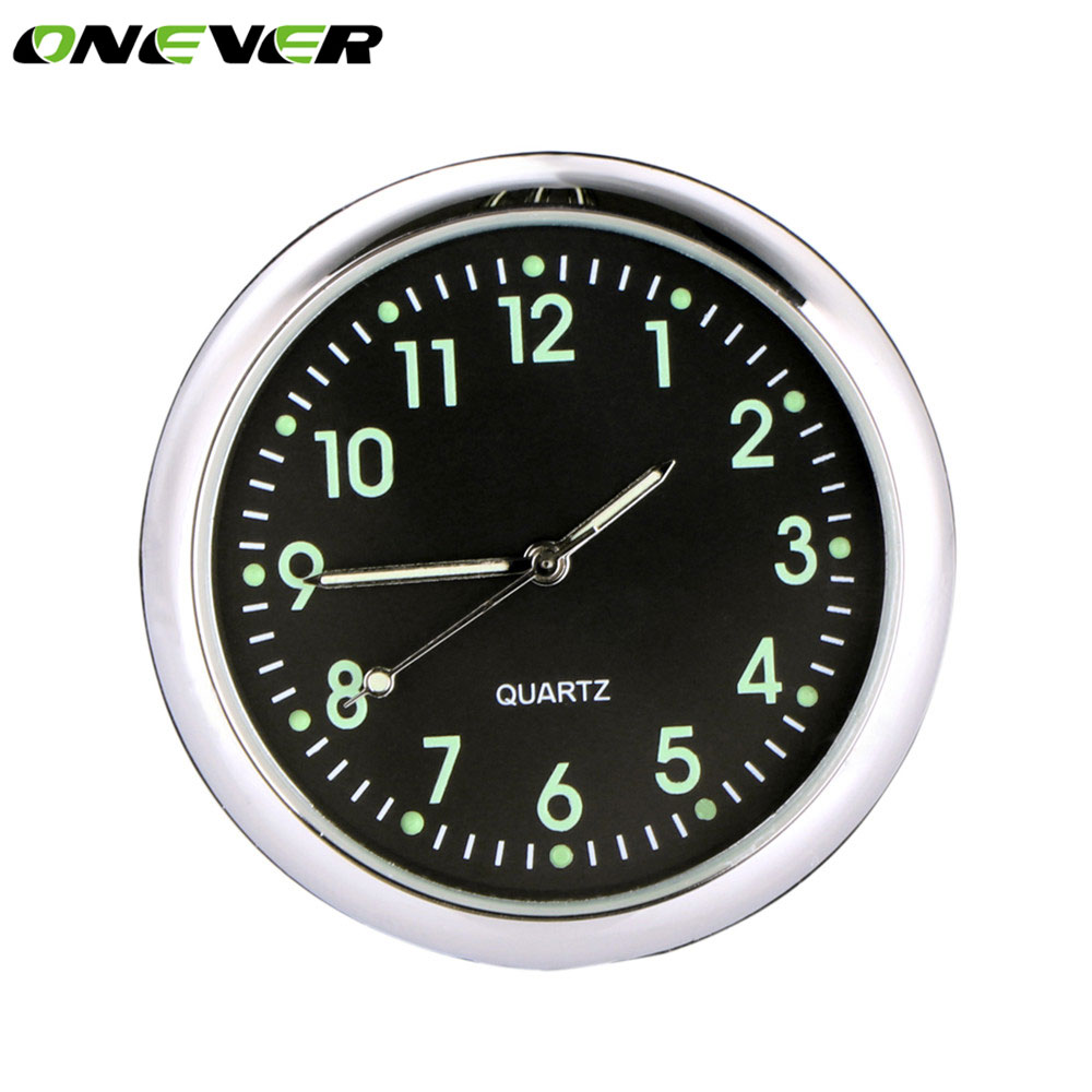 Onever Car Styling Luminous Clock Auto Round Stick On