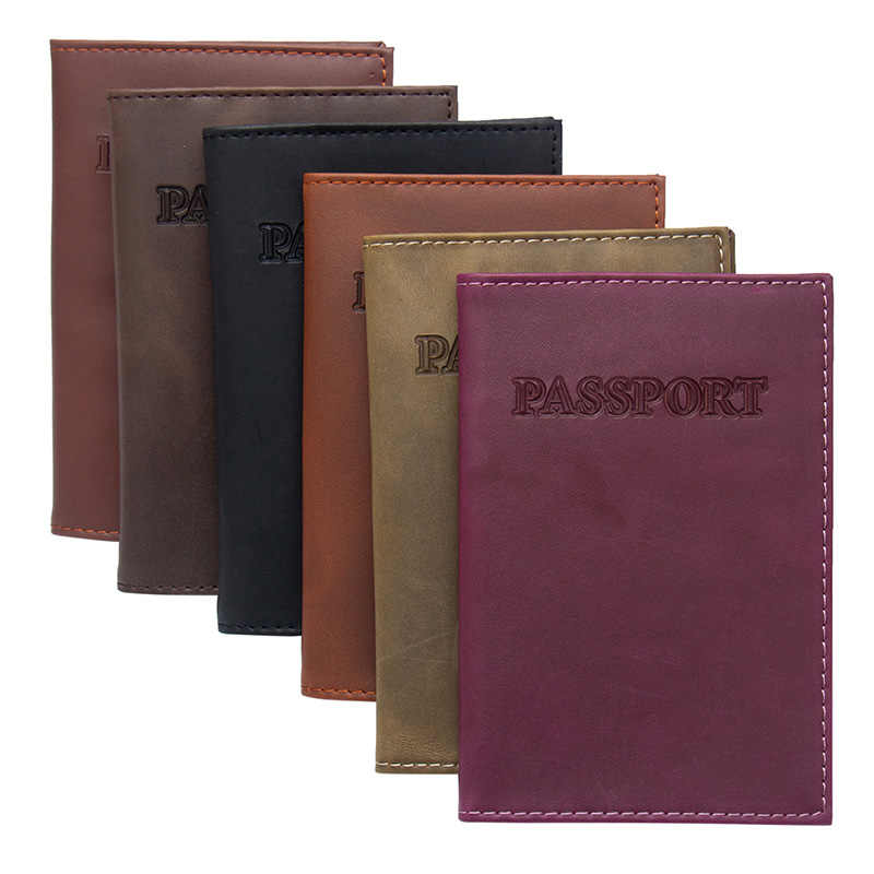 USA purple Crazy horse vintage Genuine Leather Solid soft International Passport Cover Travel Fashion Passport Holder