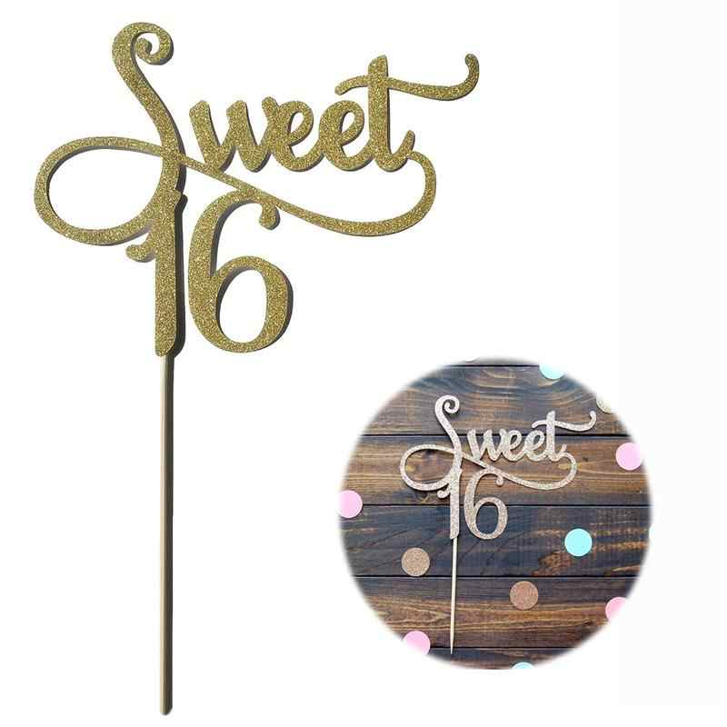 2pcs Sweet 16 Gold Monogram Cake Topper letter cake topper 16th Birthday Party Themes Decoration Anniversary Supplies