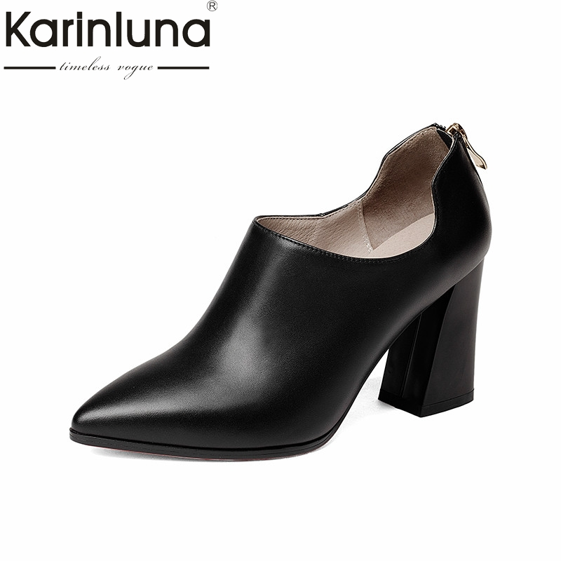 KarinLuna 2018 spring autumn fashion elegant cow leather women deep pumps zip high hoof heels ol shoes woman black lady work siketu 2017 free shipping spring and autumn women shoes fashion sex high heels shoes red wedding shoes pumps g107