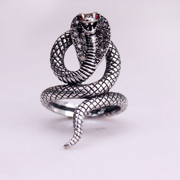 1pcs Sample Hot Selling Fashion  Brand Punk Anillos Silver  Plated Snake Crystal Rings by Jiao Disi