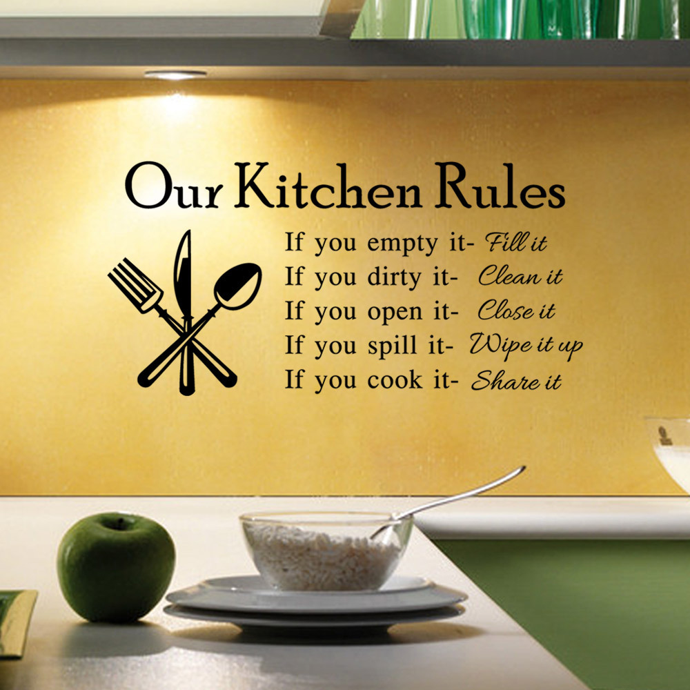 Diy Our Kitchen Rules Quotes Wall Sticker Vintage Home Decor Decal Wall Poster Kitchen Decoration Stickers Mural Wallstickers In Wall Stickers From Home
