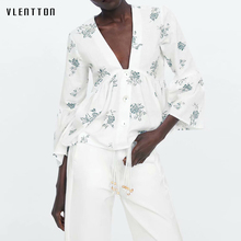 2019 Summer Bohemian Flower Print Women's Shirts Sexy V-Neck Flare Sleeve Short Blouse Tops Female White Blouses Women Chemise