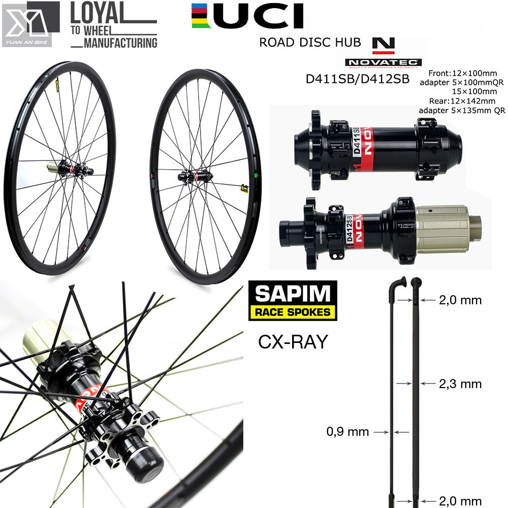 Novatec D411 D412 Hub Center Lock Or <font><b>6</b></font> Bolt Carbon Cyclocross <font><b>Wheel</b></font> Gravel <font><b>Bike</b></font> Disc Brake Wheelset With Sapim CX Ray <font><b>Spoke</b></font> image