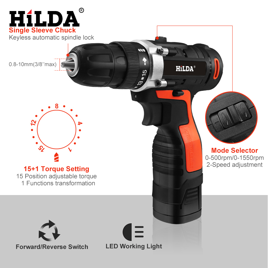 Image 2 - HILDA Electric Drill Cordless Screwdriver Drill Lithium Battery  Furadeira Cordless Screwdriver Power Tools With Plastic Case-in Electric Screwdrivers from Tools on