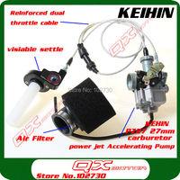 Free Shipping Performance KEIHIN PZ27 27mm Carburetor + Visiable Transparent Throttle Settle + Cable irbis + Air Filter set