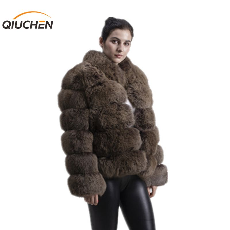QIUCHEN PJ8139-1 2018 livraison gratuite nouveau hiver épais manteau de fourrure véritable fourrure de renard veste haute qualité renard manteau col montant tenue