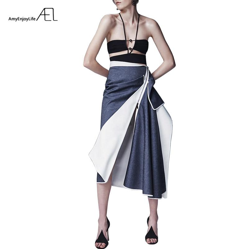 AEL Casual Asymmetrical Patchwork Denim Skirt Women 2018 Hight Quality Summer Autumn New Fashion