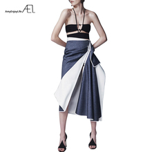 Ael 2018 カジュアル非対称パッチワークデニムスカート女性 ハイト品質夏の秋の新ファッション