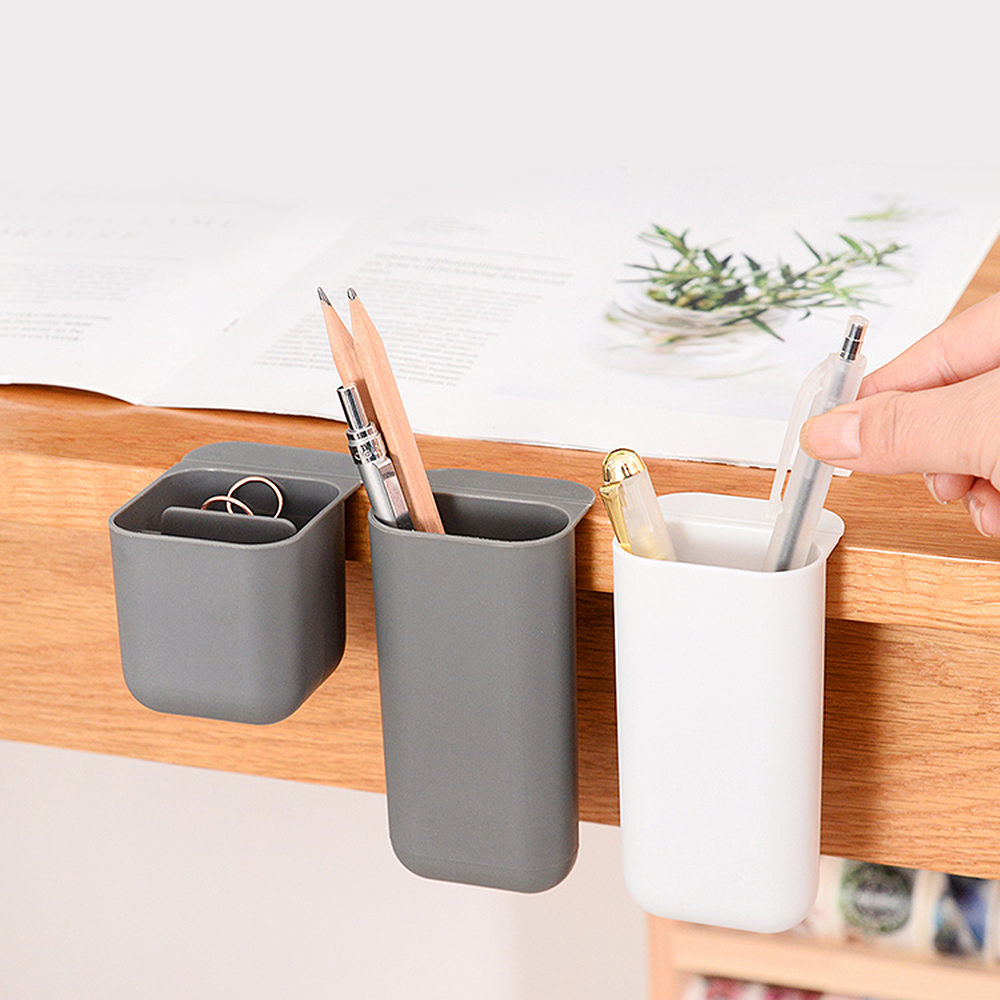 Solid Color Pencil Holder Pen Case Adhesive Desktop Organizer Office Decor Container Pen Pencil Stationery Storage Holder