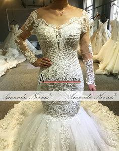 Image 4 - 2020 Designer mermaid wedding dress amanda novias real work full beading bridal make up