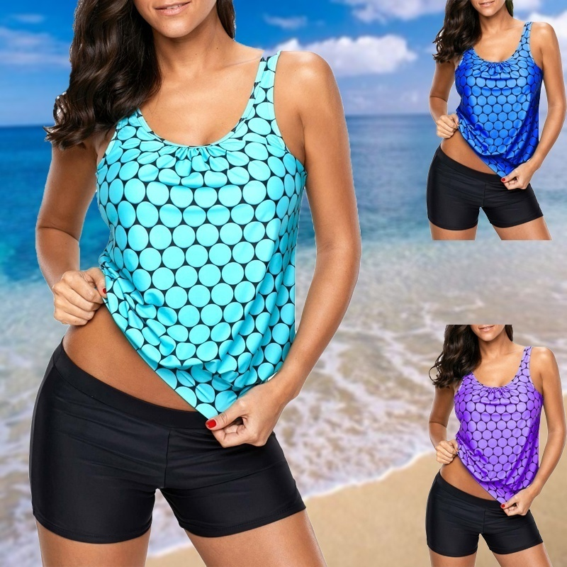 Sexy polka dot print colher pescoço tankini com <font><b>shorts</b></font> push up maiô 2018 novas senhoras do vintage beach wear <font><b>plus</b></font> <font><b>size</b></font> image