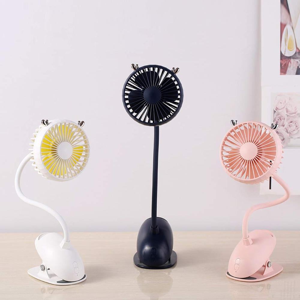 MINI Clip USB Desk Fan Battery Operated Personal Small Desktop Fan for indoor Office Table Dormitory Room Bed Baby Cart