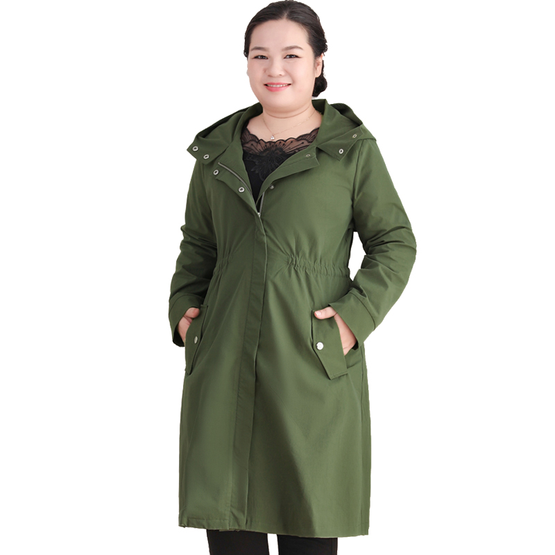 2019 Women   Trench   Coat Fat Mother 200 Pounds Hooded Casual Outerwear Loose Elastic Band Windbreaker Female Large Size 10XL L289